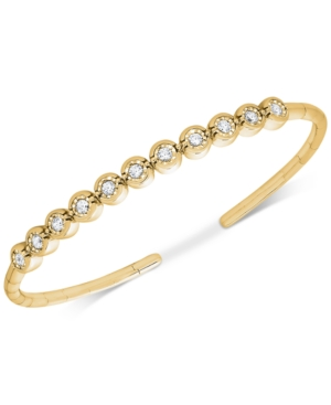 Diamond Bezel Bangle Bracelet (1/2 ct. t.w.) set in 14k Rose or Yellow Gold over Sterling Silver -  Wrapped