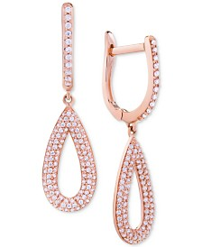 Wrapped in Love™ Diamond Pavé Teardrop Drop Earrings (1/2 ct. t.w.) in 14k Rose Gold, Created for Macy's