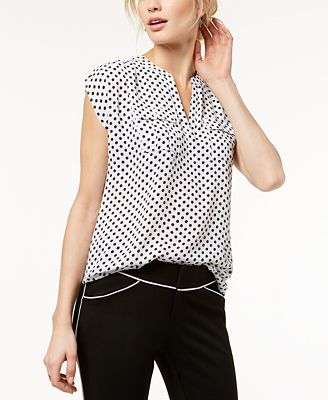 I.N.C. Petite Printed Split-Neck Top, Created for Macy's