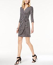 I.N.C. Petite Dot-Print Faux-Wrap Dress, Created for Macy's