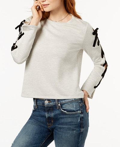 Bar III Lace-Up-Sleeve Sweatshirt, Created for Macy's