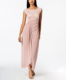 Connected Sequined Lace Draped Faux-Wrap Gown