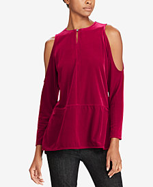 Lauren Ralph Lauren Petite Cold-Shoulder Velvet Top