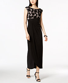 Connected Soutache Lace Draped Faux-Wrap Gown