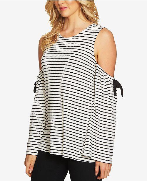 c999e999b3b83 CeCe Striped Cold-Shoulder Top - Tops - Women - Macy s