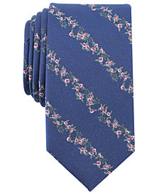 Bar III Men's Aaron Floral Stripe Skinny Tie, Created for Macy's