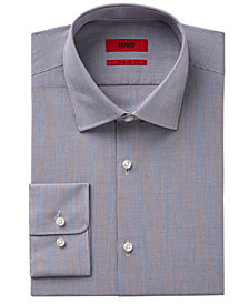 HUGO Men's Fitted Red and Blue Check Dress Shirt