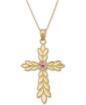 Two-Tone Floral Cross Pendant Necklace in 14k Gold & Rose Gold