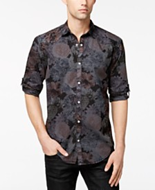 I.N.C. Men's Dark Floral-Print Shirt, Created for Macy's
