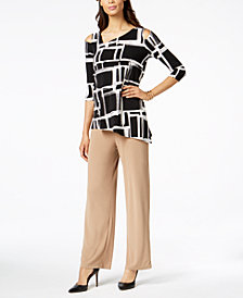 Alfani Cold-Shoulder Top & Wide-Leg Trousers, Created for Macy's