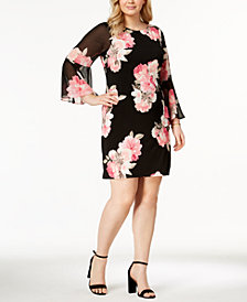 Jessica Howard Plus Size Floral-Print Bell-Sleeve Dress