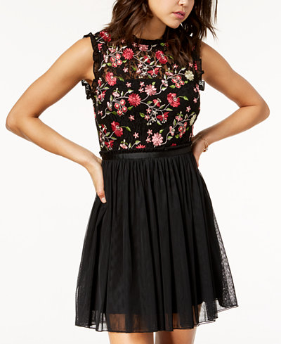 City Studios Juniors' Embroidered Lace Fit & Flare Dress