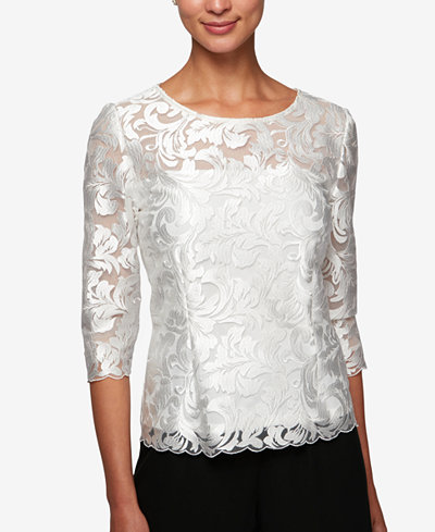 Alex Evenings 3/4-Sleeve Embroidered Top