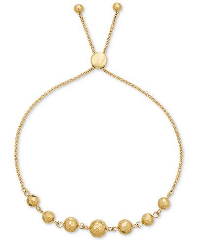 Beaded Adjustable Bracelet in 10k Gold