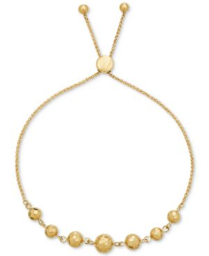 Beaded Adjustable Bracelet in 10k Gold -  Macy's