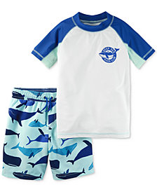 Carter's 2-Pc. Whale Rash Guard & Printed Swim Trunks Set, Little Boys & Big Boys