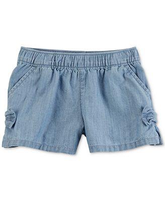 Carter's Denim Side-Bow Cotton Shorts, Toddler Girls