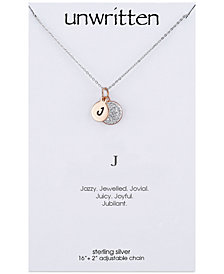"Unwritten Initial & Crystal Disc Pendant Necklace in Rose Gold-Tone Sterling Silver, 16"" + 2"" extender"