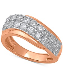 Diamond Swirl Band (1-1/3 ct. t.w.) in 14k Rose Gold