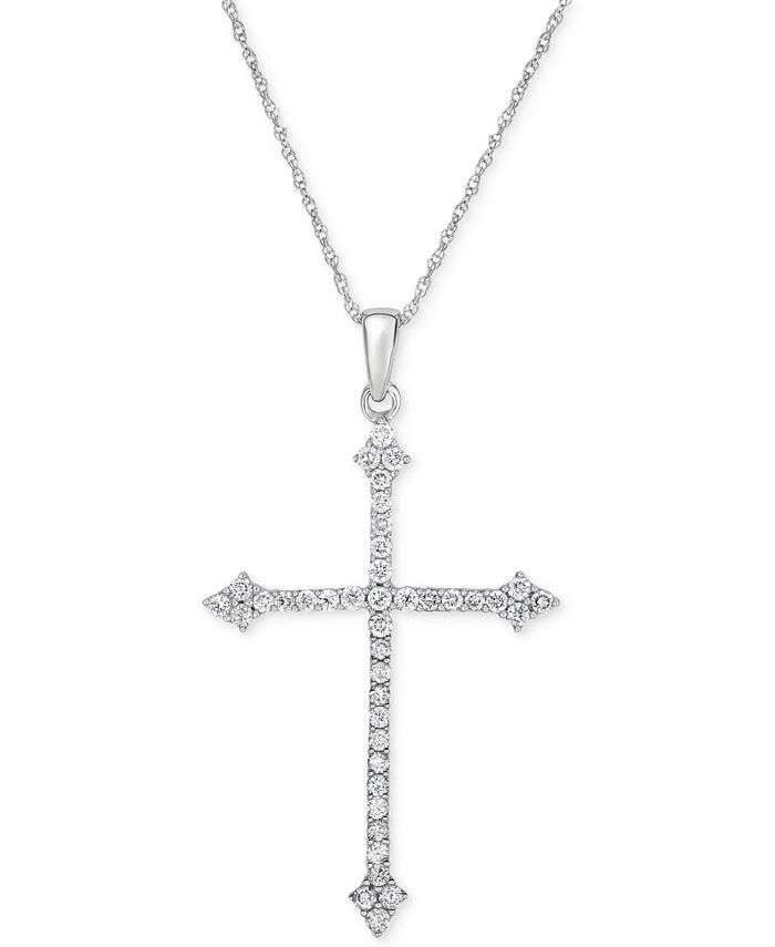 Macy's - Diamond Cross Pendant Necklace (1/2 ct. t.w.) in 14k White Gold
