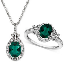 Lab Created Emerald (1-3/4 ct. t.w.) & White Sapphire (3/4 ct. t.w.) Pendant Necklace & Ring in Sterling Silver