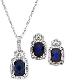 Lab Created Sapphire (3-1/2 ct. t.w.) & White Sapphire (3/4 ct. t.w.) Pendant Necklace & Stud Earrings in Sterling Silver