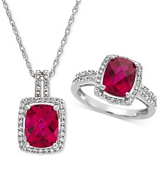 Lab Created Ruby (4 ct. t.w.) & White Sapphire (1 ct. t.w.) Pendant Necklace & Ring in Sterling Silver