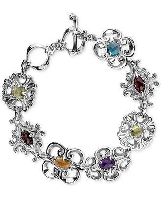 Carolyn Pollack Multi-Gemstone Link Bracelet (5 ct. t.w.) in Sterling Silver