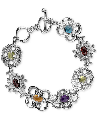 Carolyn Pollack Multi Gemstone Link Bracelet 5 Ct T W In Sterling Silver