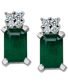 Emerald (1-1/5 ct. t.w.) & Diamond Accent Stud Earrings in 14k White Gold