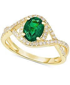 Emerald (1-1/10 ct. t.w.) & Diamond (1/3 ct. t.w.) Ring in 14k Gold