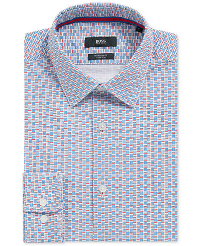 BOSS Men's Regular/Classic-Fit Basketweave Stretch Cotton Sport Shirt