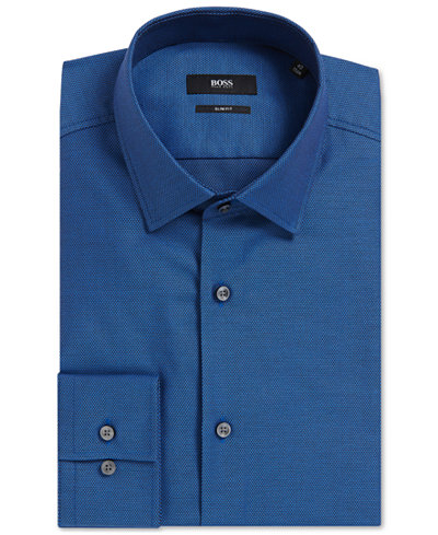 BOSS Men's Slim-Fit Birdseye Cotton Dress Shirt