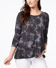 Style & Co Cotton Tie-Dyed High-Low T-Shirt, Created for Macy's