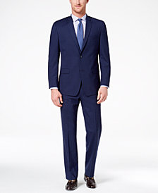 Marc New York by Andrew Marc Men's Classic-Fit Stretch Dark Blue Plaid Suit