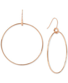 Kenneth Cole New York Rose Gold-Tone Drop Hoop Earrings