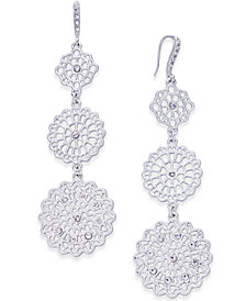 I.N.C. Silver-Tone Crystal Filigree Disc Triple-Drop Earrings, Created for Macy's