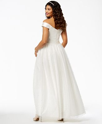 Say Yes To The Prom Juniors Imitation Pearl Embellished Gown
