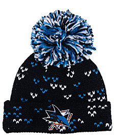 adidas Women's San Jose Sharks Cuffed Pom Knit