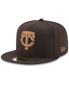 New Era Minnesota Twins Brown on Metallic 59FIFTY Fitted Cap