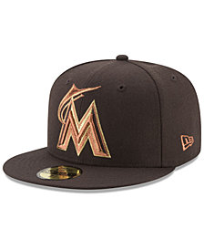 New Era Miami Marlins Brown on Metallic 59FIFTY Fitted Cap