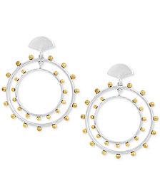 Lucky Brand Two-Tone Beaded Drop Hoop Earrings