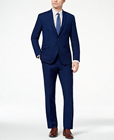 Kenneth Cole Reaction Men's Techni-Cole Slim-Fit Stretch Modern Blue Solid Big and Tall Suit