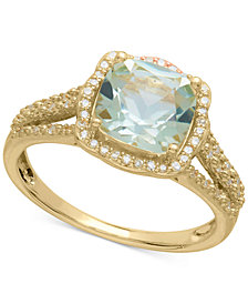 Green Amethyst (2-1/10 ct. t.w.) & Diamond (1/6 ct. t.w.) Ring in 14k Gold