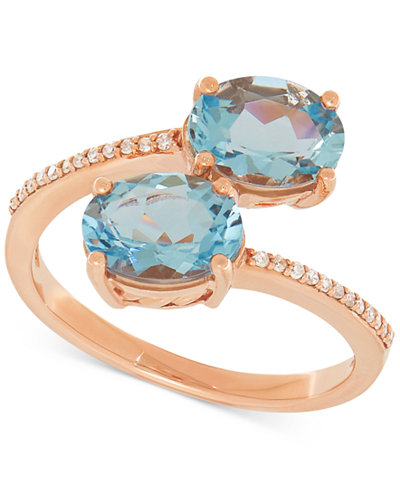 Aquamarine (2-1/5 ct. t.w.) & Diamond Accent Bypass Ring in 10k Rose Gold
