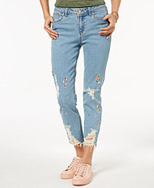 Black Daisy Juniors' Ripped Jewel-Embellished Skinny Jeans