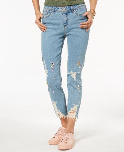 Black Daisy Juniors' Ripped Jewel-Embellished Skinny Jeans