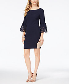 Jessica Howard Lasercut Bell-Sleeve Dress, Regular & Petite Sizes