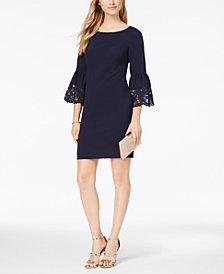 Jessica Howard Lasercut Bell-Sleeve Dress, Regular & Petite Sizes
