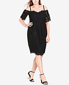 City Chic Trendy Plus Size Off-The-Shoulder Lace Dress